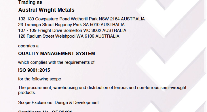 Austral Wright Quality Management System